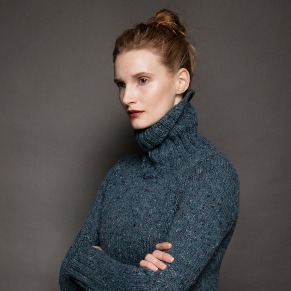 Ladies Irish Knit Wool Sweater - Turtle Neck