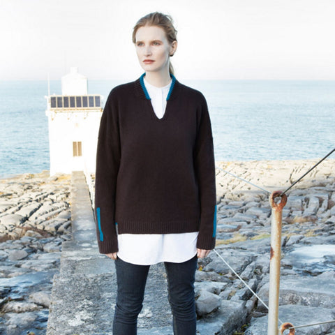Irish wool wool slit neck sweater