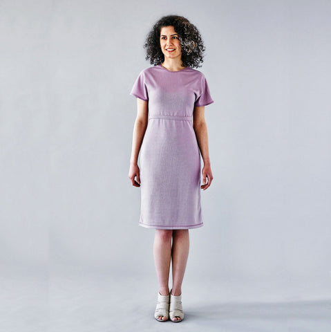 Batwing Dress with Removable Belt - Blush Pink