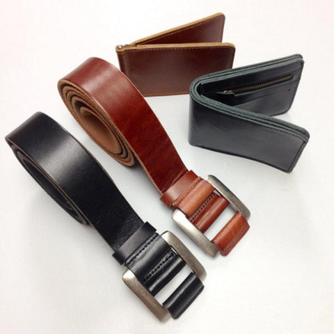 Leather Belt with Auto Locking System With Wallet