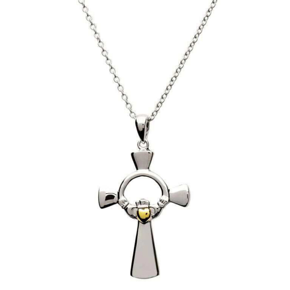 Irish Made Claddagh Cross Silver Gold Necklace Toronto