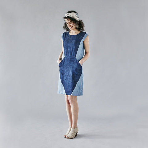 100% cotton geometric blue denim dress