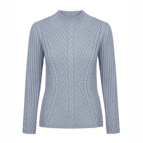 'Portroe' Funnel Neck Ribbed Cable Sweater