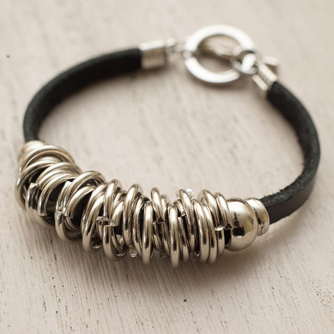 stainless steel and leather irish jewellery bracelet