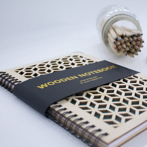 wooden spiral handmade notebook