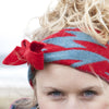 blue red knitted head band headband