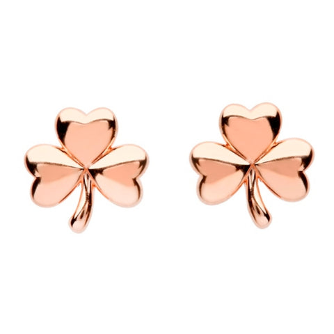 Irish Made Rose Gold Shamrock Earrings Toronto