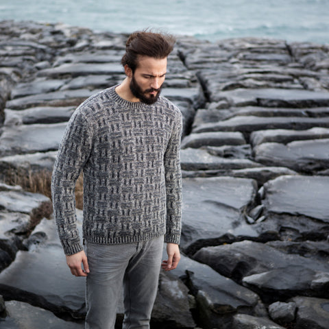 Mens Irish Knit Warm Wool Sweater