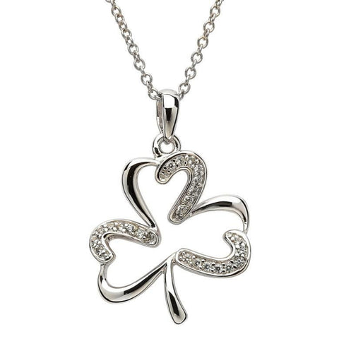 Irish Made Crystal Silver Shamrock Necklace Toronto