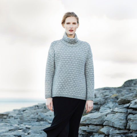 Slouchy Irish Knit Turtle-Neck Sweater - Woven Design