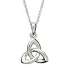 traditional irish sterling silver trinity knot necklace close-up