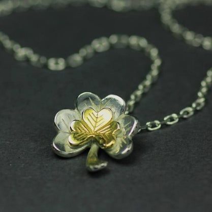 Ireland Forever - Silver Shamrock Pendant with Gold Detail