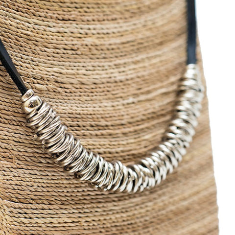"""Rings"" - Leather and Stainless Steel Necklace"