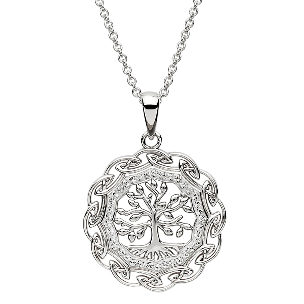 Celtic Silver Tree of Life Embellished with Swarovski Crystals.