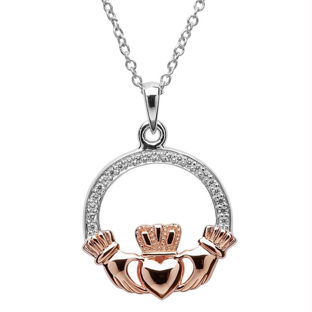 Claddagh Stone Set Rose Gold Plated Necklace Irish Made
