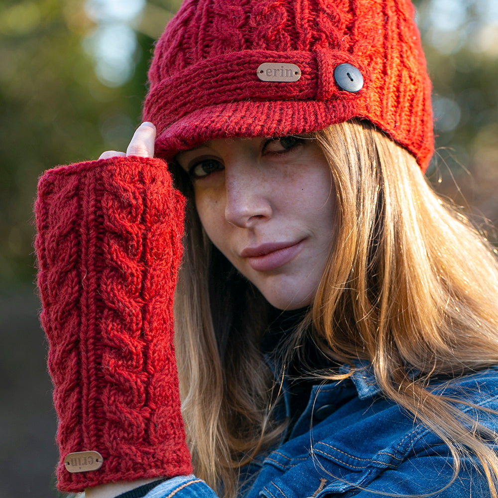 Irish Wool Fingerless Gloves and Matching Hat