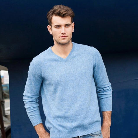 V-Neck Lambswool Wool Sweater - Menswear
