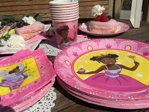 """I'm a Pretty Black Princess"" Deluxe Party Set for a black princess party! - Brown Girls Club - 1"