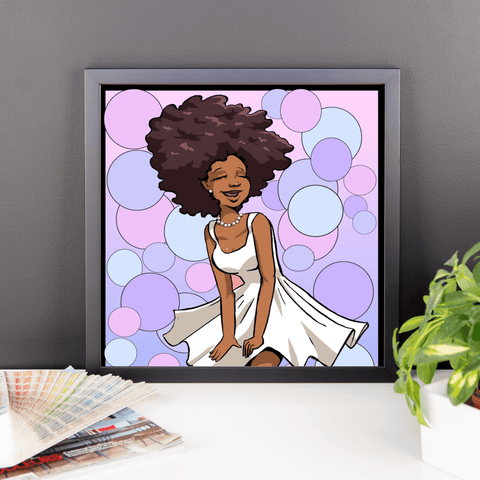 """Afro Cutie in a White Dress"" Black Framed Wall Art - Brown Girls Club"