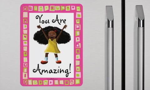 Positive Affirmation Magnets for African-American Children - Pack of 4 - Brown Girls Club - 1