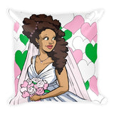 """Here Comes the (Beautiful Black) Bride"" Square Pillow (Pink and Green version) - Brown Girls Club - 1"