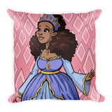 """Black Princess in Pink"" Square Pillow - Brown Girls Club - 1"