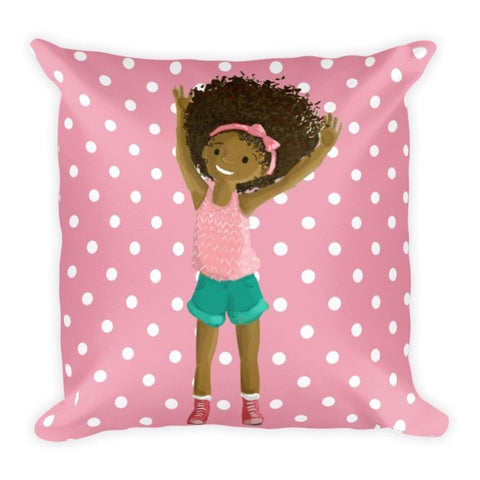 """Big Hair, Don't Care"" Pink Polka Dot Pillow - Brown Girls Club - 1"