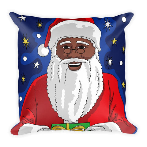 """Black Santa Magic"" Square Christmas Pillow - Brown Girls Club - 1"