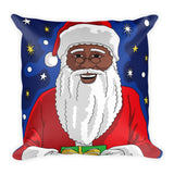 """Black Santa Magic"" Square Christmas Pillow - Brown Girls Club - 2"