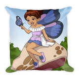 """Brown Girl With Butterfly Wings"" Square Pillow - Brown Girls Club - 1"