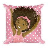 """Big Hair, Don't Care"" Pink Polka Dot Pillow - Brown Girls Club - 2"
