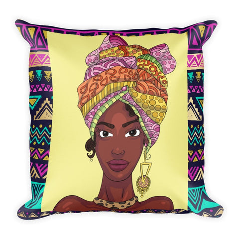 """Headwrap Queen"" Square Pillow - Brown Girls Club - 1"