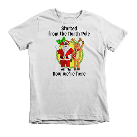 """Started from the North Pole, Now We're Here"" African-American Santa Kids Christmas  T-shirt (2-6yrs) - Brown Girls Club - 2"