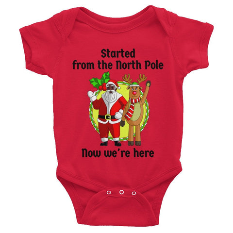 """Started from the North Pole, Now We're Here"" African-American Santa Infant Christmas onesie - Brown Girls Club - 1"