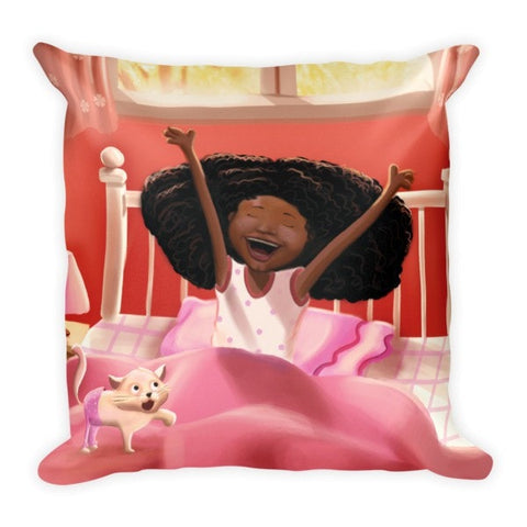 """Naturally Me"" Square Pillow - Brown Girls Club - 1"