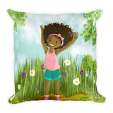 """Big Hair, Don't Care"" Square Pillow - Brown Girls Club - 1"