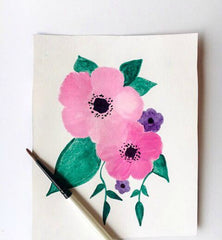 Boho Watercolor floral painting two pink flowers with green leaves