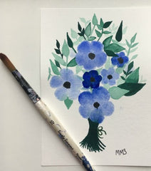 floral bouquet with blue watercolor flowers and green leaves throughout
