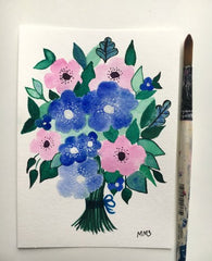 Blue and Pink watercolor flowers in a bouquet hand painted by marti magna