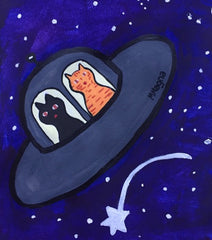 daily illustration hand drawn kitty's in a space ship