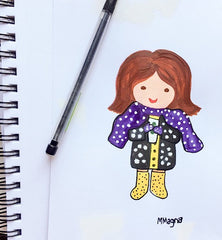 art for licensing, illustration of little girl in dotted outfit and scarf