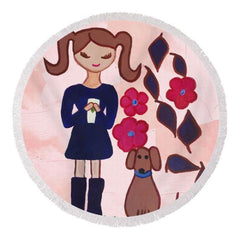 A rug for girls bathroom Coffee is extra special with your best friend is quote written on top of this girl in pigtails holding coffee with her dog standing next to her background is pink dog is brown and her dress is purple