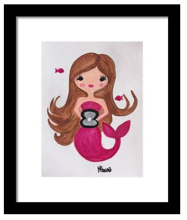 Mermaid in Burgundy Art Print