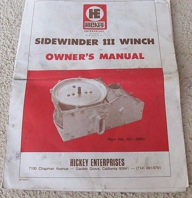 hickey sidewinder iii winch owners manual hickey enterprises inc hickey sidewinder iii winch owners manual