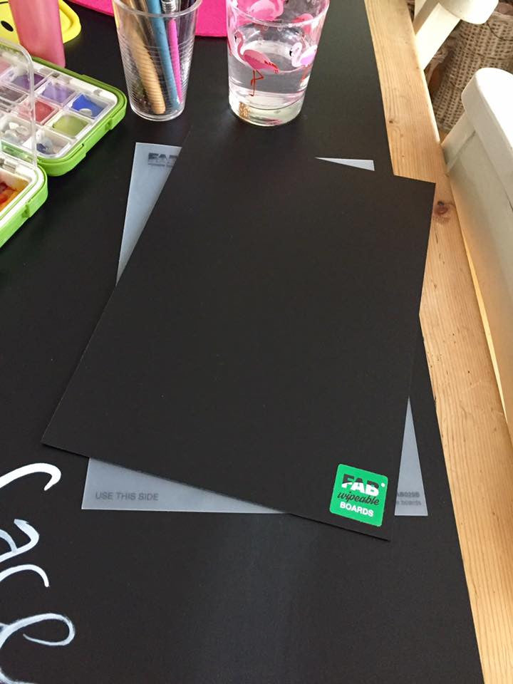 FAB wipable pracice board Plain A4 Black board