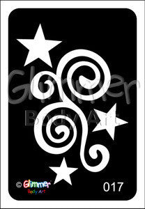Tattoo Stencil, Star Swirl