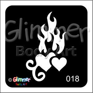 Glimmer body art, Flaming Hearts (18)