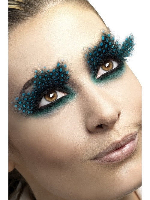 Fever, Eyelashes, Large Feather with Aqua Dots