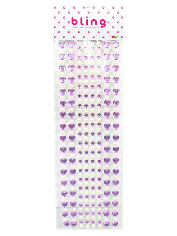 Purple Crystal Heart & Pearl Bling