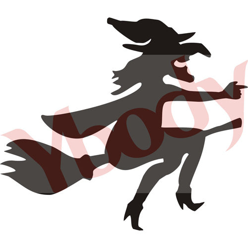 Tattoo Stencil, Broomstick Witch